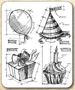 Tim Holtz - Cling Rubber Stamp Set - Birthday Blueprint