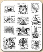 Tim Holtz - Cling Rubber Stamp Set - Mini Blueprints 4