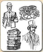 Tim Holtz - Cling Rubber Stamp Set - Time Travelers