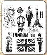 Tim Holtz - Cling Rubber Stamp Set - Paris to London