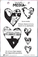 Stamper's Anonymous - Dina Wakley Media - Cling Mounted Rubber Stamp Set - Collaged Hearts