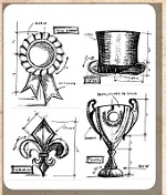 Tim Holtz - Cling Rubber Stamp Set - High Society Blueprints