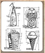 Tim Holtz - Cling Rubber Stamp Set - Treats Blueprint