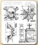 Tim Holtz - Cling Rubber Stamp Set - Halloween Blueprint