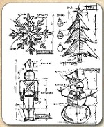 Tim Holtz - Cling Rubber Stamp Set - Christmas Blueprint
