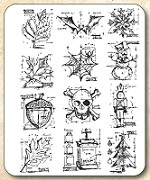 Tim Holtz - Cling Rubber Stamp Set - Mini Blueprints