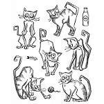 Stamper's Anonymous / Tim Holtz - Cling Mounted Rubber Stamp Set - Crazy Cats