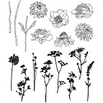 Stamper's Anonymous / Tim Holtz - Cling Mounted Rubber Stamp Set - Mini Bouquet
