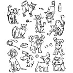 Stamper's Anonymous / Tim Holtz - Cling Mounted Rubber Stamp Set - Mini Crazy Cats & Dogs
