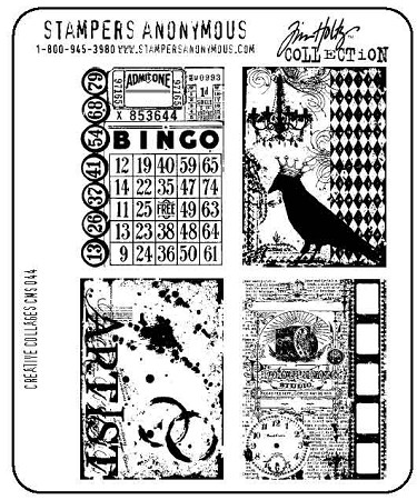 Tim Holtz-Cling Rubber Stamp Set-Creative Collage