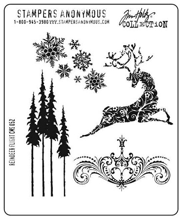 Tim Holtz-Cling Rubber Stamp Set-Reindeer Flight