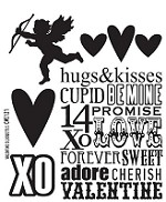 Tim Holtz-Cling Rubber Stamp Set-Valentine Silhouettes