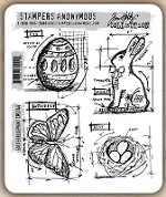 Tim Holtz - Cling Rubber Stamp Set - Easter Blueprint