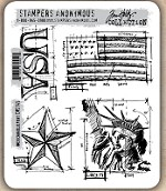 Tim Holtz - Cling Rubber Stamp Set - Americana Blueprint