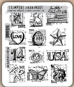 Tim Holtz - Cling Rubber Stamp Set - Mini Blueprints 2