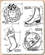 Stamper's Anonymous / Tim Holtz - Cling Mounted Rubber Stamp Set - Christmas Blueprint 2
