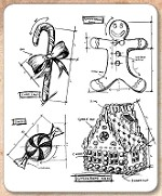 Stamper's Anonymous / Tim Holtz - Cling Mounted Rubber Stamp Set - Christmas Blueprint 3
