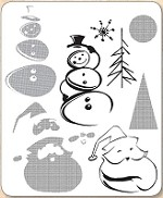 Stamper's Anonymous / Tim Holtz - Cling Mounted Rubber Stamp Set - Halftone Christmas