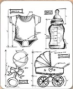 Stamper's Anonymous / Tim Holtz - Cling Mounted Rubber Stamp Set - Baby Blueprints