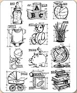 Stamper's Anonymous / Tim Holtz - Cling Mounted Rubber Stamp Set - Mini Blueprints 8