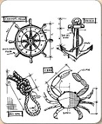 Stamper's Anonymous / Tim Holtz - Cling Mounted Rubber Stamp Set - Mariner Blueprints