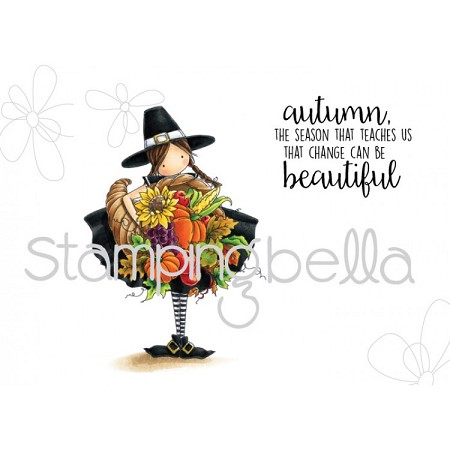 Stamping Bella - Cling Rubber Stamp - Tiny Townie Casey has a Cornucopia