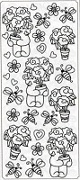 Sticker King Peel Off Stickers - Bears & Flowers (Silver)