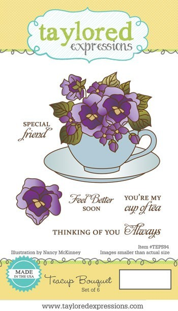 Taylored Expressions - Cling Mounted Rubber Stamp - Teacup Bouquet