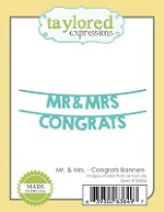 Taylored Expressions - Cutting Die - Mr & Mrs Congrats Banner