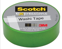 3M Scotch - Expressions Washi Tape - 15mm x 10m - Green