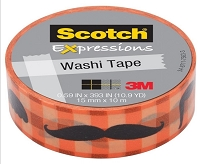 3M Scotch - Expressions Washi Tape - 15mm x 10m - Moustache