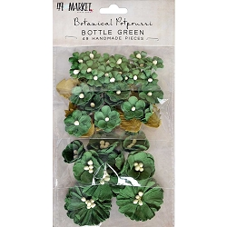 49 and Market - Paper Flowers - Botanical Potpourri Bottle Green