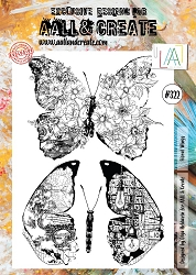 AALL & Create - Clear Stamp A4 size - Set #322 Floral Wings