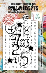 AALL & Create - Clear Stamp A7 size - Set #350 Splattered Numbers