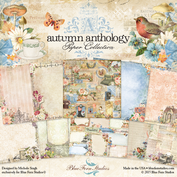 Autumn Anthology paper collection  (paper, clear stamps, chipboards)