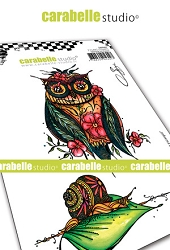 Carabelle Studio - Cling Stamp - Chouette et escargot