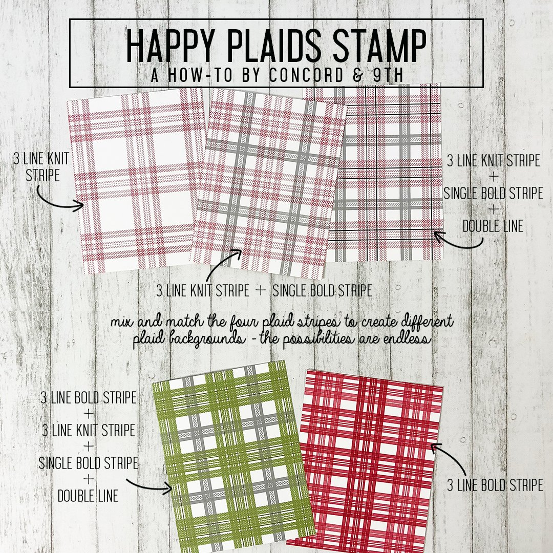 Concord /& 9th 10465 Clear Stamps 4X8-Happy Plaids