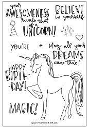 Concord & 9th - Clear Stamp - Unicorn Awesomeness Stamp Set
