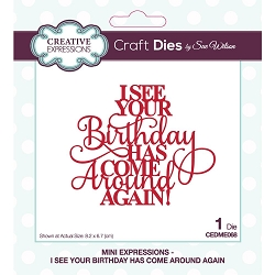 Sue Wilson Designs - Die - Mini Expressions - I See Your Birthday Has Come Around Again