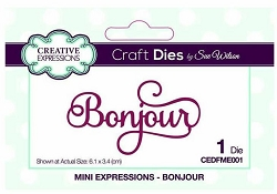 Sue Wilson Designs - French Mini Expressions Die - Bonjour (Hello)