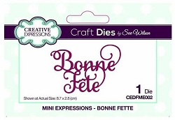 Sue Wilson Designs - French Mini Expressions Die - Bonne Fête (Happy Holiday or Happy Birthday)