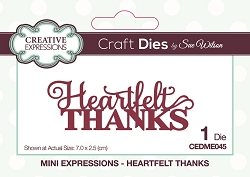 Sue Wilson Designs - Die - Mini Expressions - Heartfelt Thanks