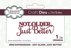 Sue Wilson Designs - Die - Mini Expressions - Not Older, Just Better