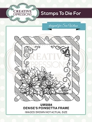 Sue Wilson Designs - Cling Mounted Stamp - Denise's Poinsettia Frame Pre Cut Stamp