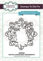 Sue Wilson Designs - Cling Mounted Stamp - Anita's Ornaments Pre cut Stamp