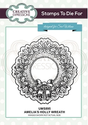 Sue Wilson Designs - Cling Mounted Stamp - Amelia's Holly Wreath Pre Cut Stamp