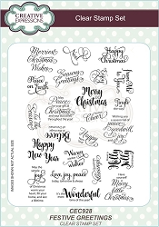 Sue Wilson Designs - Clear Stamp Set - Festive Greetings