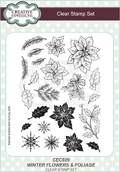 Sue Wilson Designs - Clear Stamp Set - Wintery Flowers and Foliage