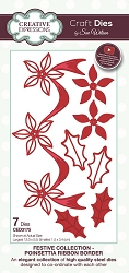 Sue Wilson Designs - Die - Festive Collection Poinsettia Ribbon Border Craft Die