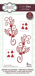 Sue Wilson Designs - Die - Festive Collection Twin Holly Sprays Craft Die